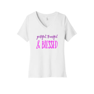 Grateful, Thankful & Blessed V-Neck T-Shirt