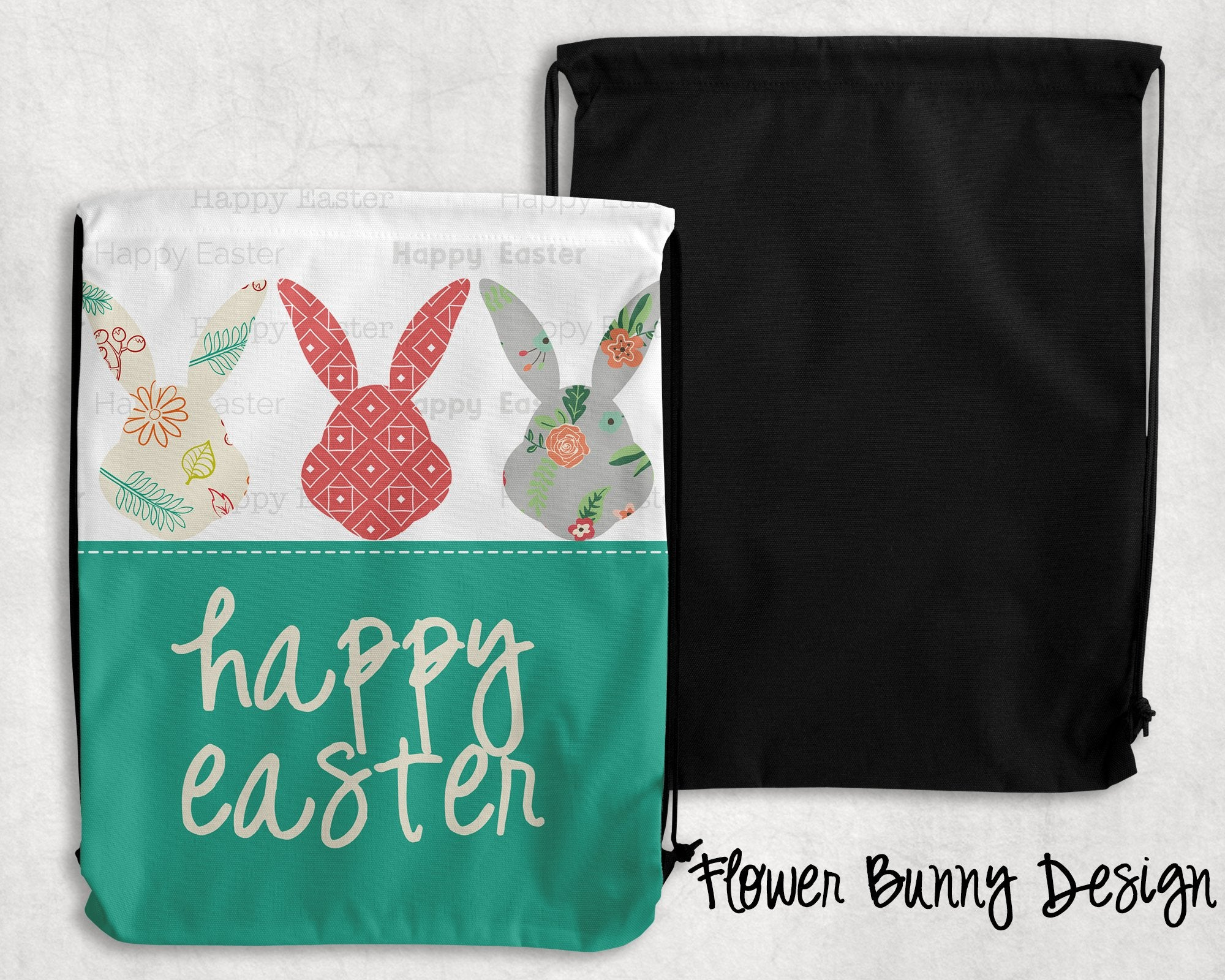 Flower Bunny Personalized Drawstring Bags