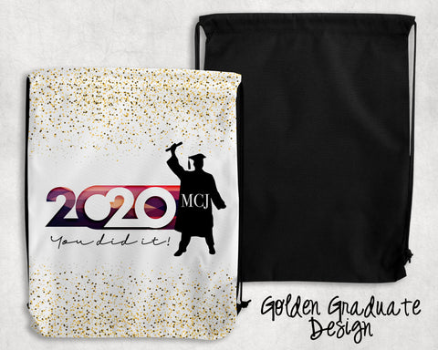 Golden Graduate Personalized Drawstring Bags