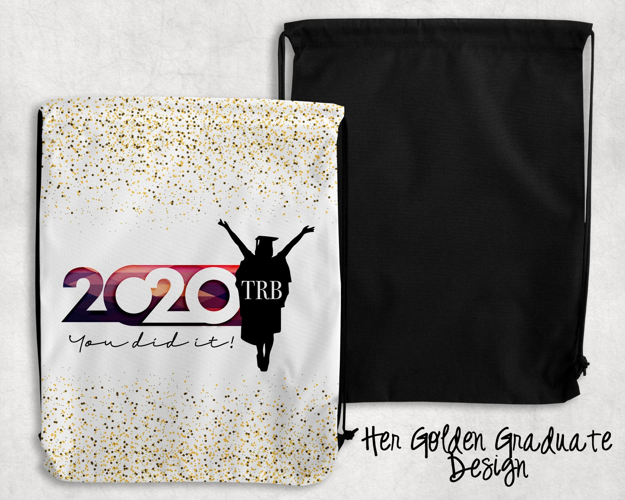Her Golden Graduate Personalized Drawstring Bags