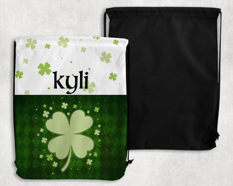 Lucky Clover Personalized Drawstring Bags