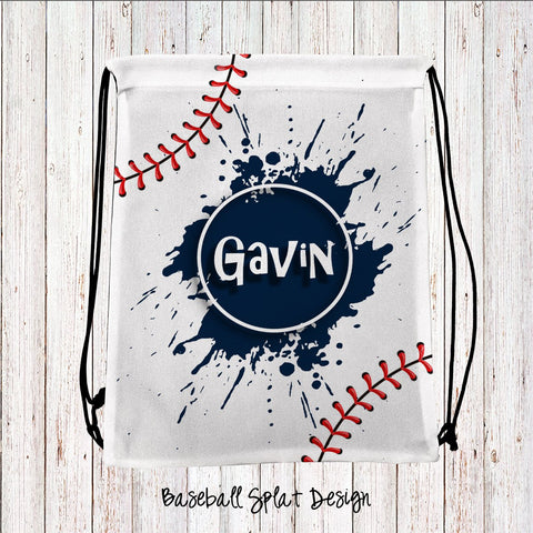 Baseball Splat Personalized Drawstring Bags