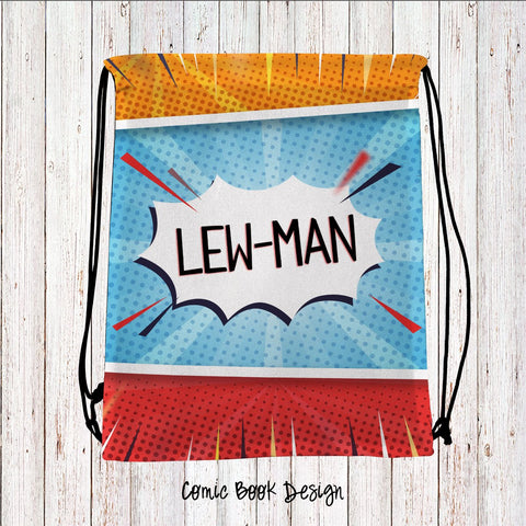 Comic Book Personalized Drawstring Bags
