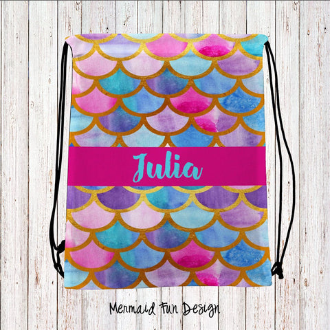 Mermaid Fun Personalized Drawstring Bags