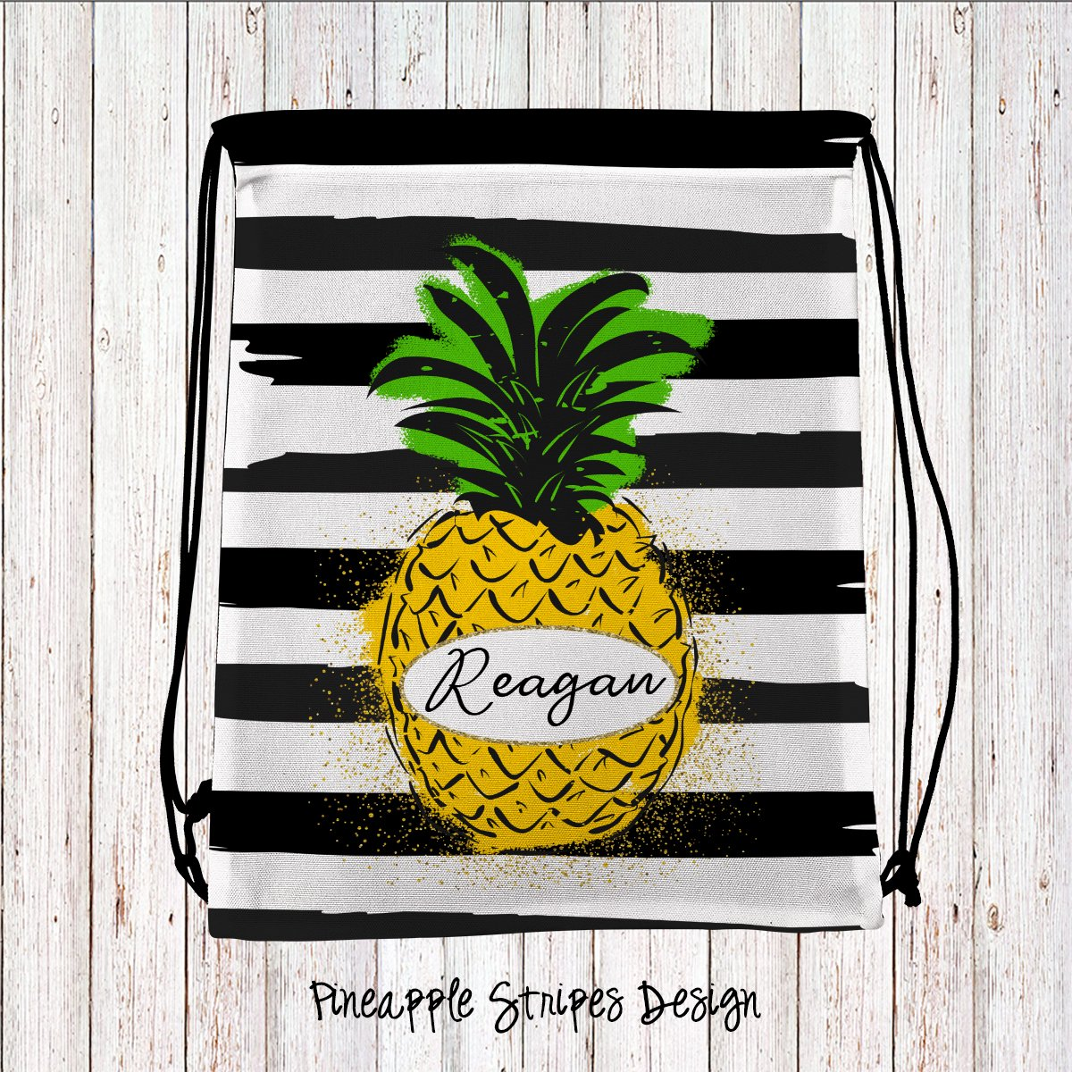 Pineapple Stripes Personalized Drawstring Bags