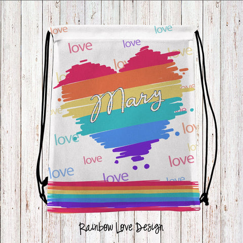 Rainbow Fun Personalized Drawstring Bags