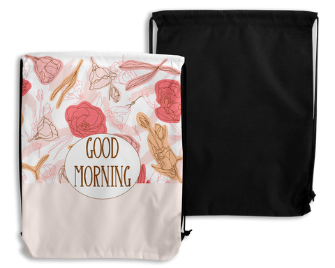Pink Flowers Personalized Drawstring Bags
