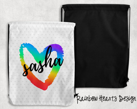 Rainbow Hearts Personalized Drawstring Bags