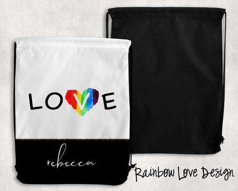 Rainbow Love Personalized Drawstring Bags