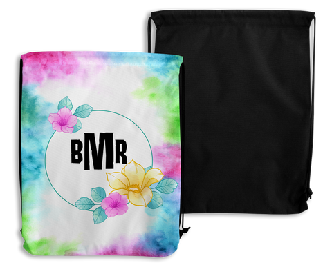 Watercolor Personalized Drawstring Bags