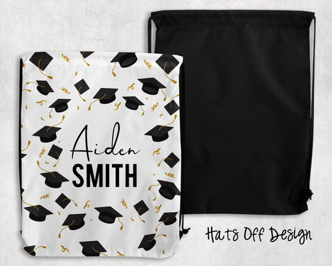 Hats Off Personalized Drawstring Bags