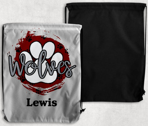 MRE Wolves Personalized Drawstring Bags