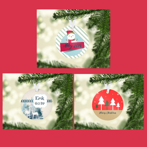 Personalized Metal Round Ornaments