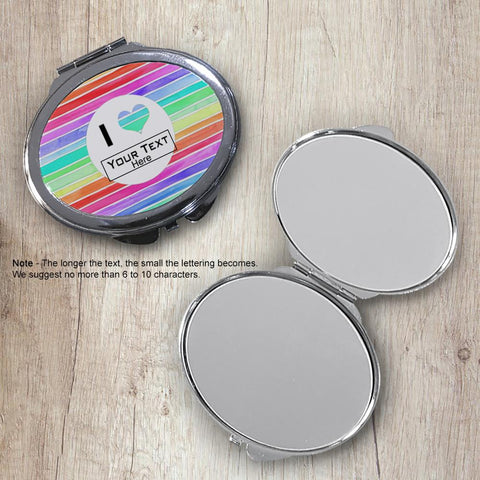Pastel Stripes Oval Compact Mirror