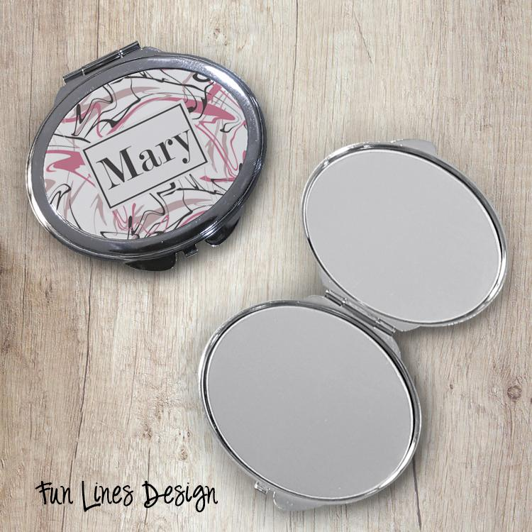 Fun Lines Oval Compact Mirror