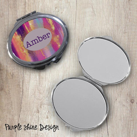Purple Shine Oval Compact Mirror