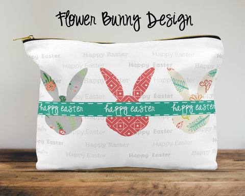 Flower Bunny Custom Cosmetic Bag