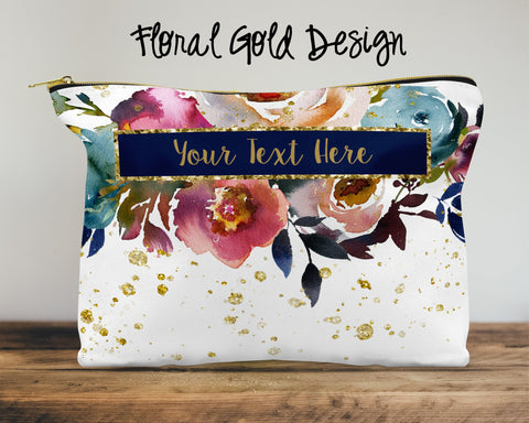 Floral Gold Custom Cosmetic Bag