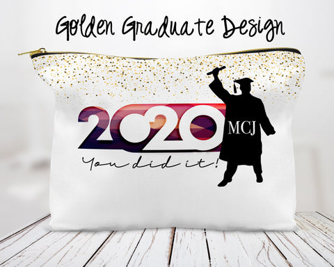 Golden Graduate Custom Cosmetic Bag