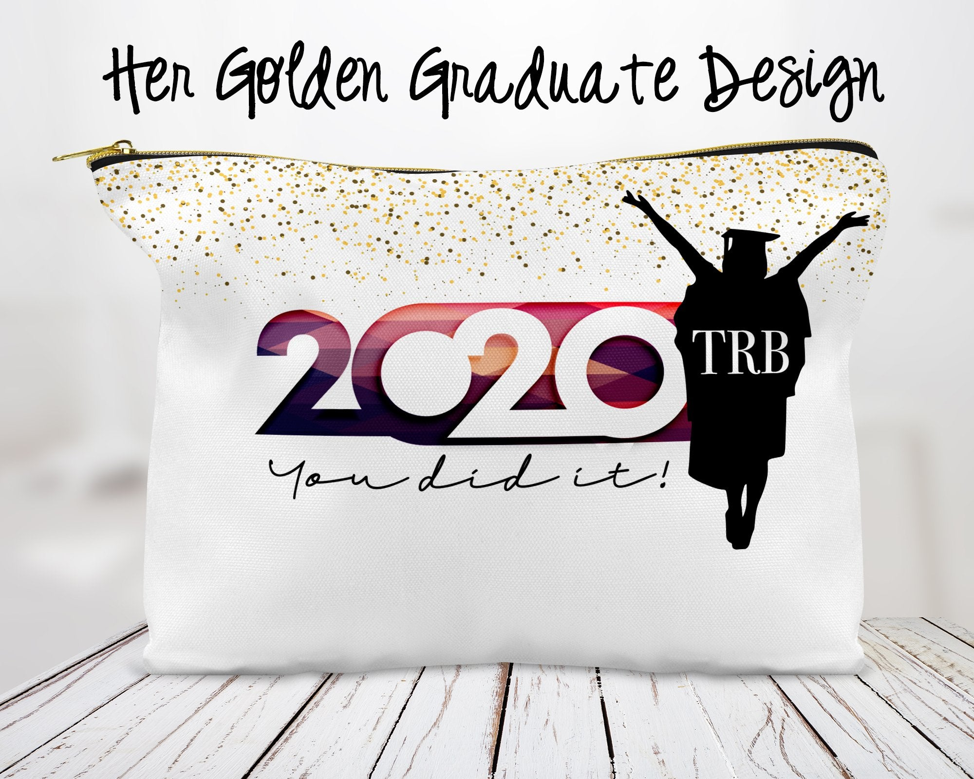Her Golden Graduate Custom Cosmetic Bag