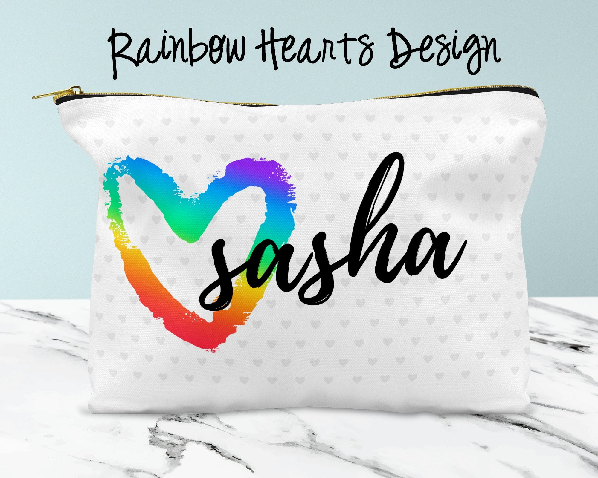 Rainbow Hearts Custom Cosmetic Bag