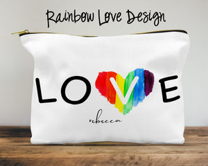 Rainbow Love Custom Cosmetic Bag