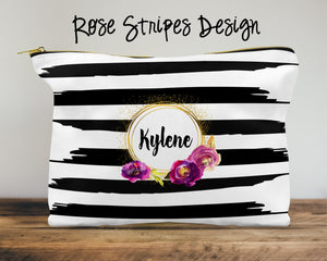 Rose Stripes Custom Cosmetic Bag
