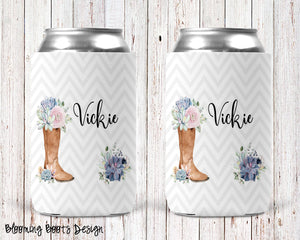 Blooming Boots Personalized Can Cooler