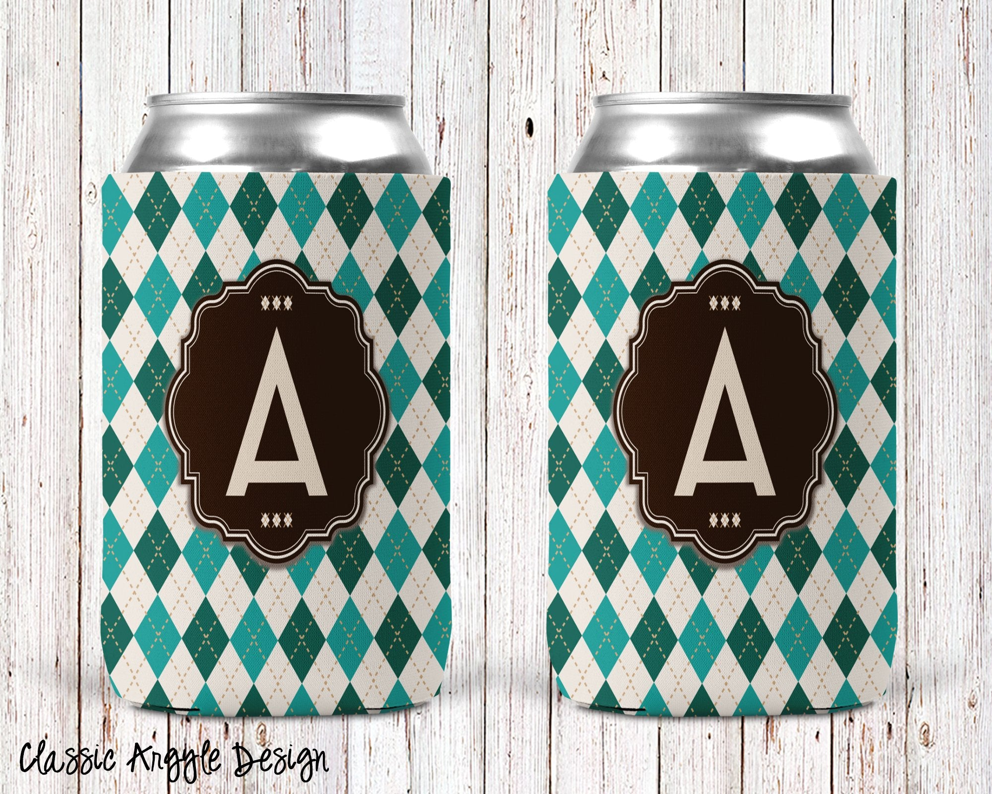 Classic Argyle Personalized Can Cooler