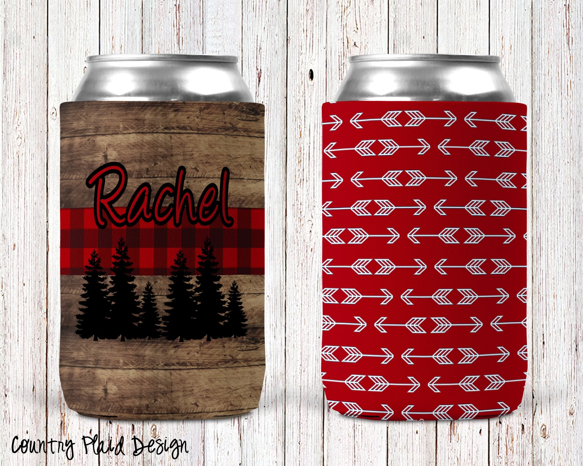 Country Plaid Personalized Can Cooler