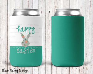 Flower Bunny Personalized Can Cooler