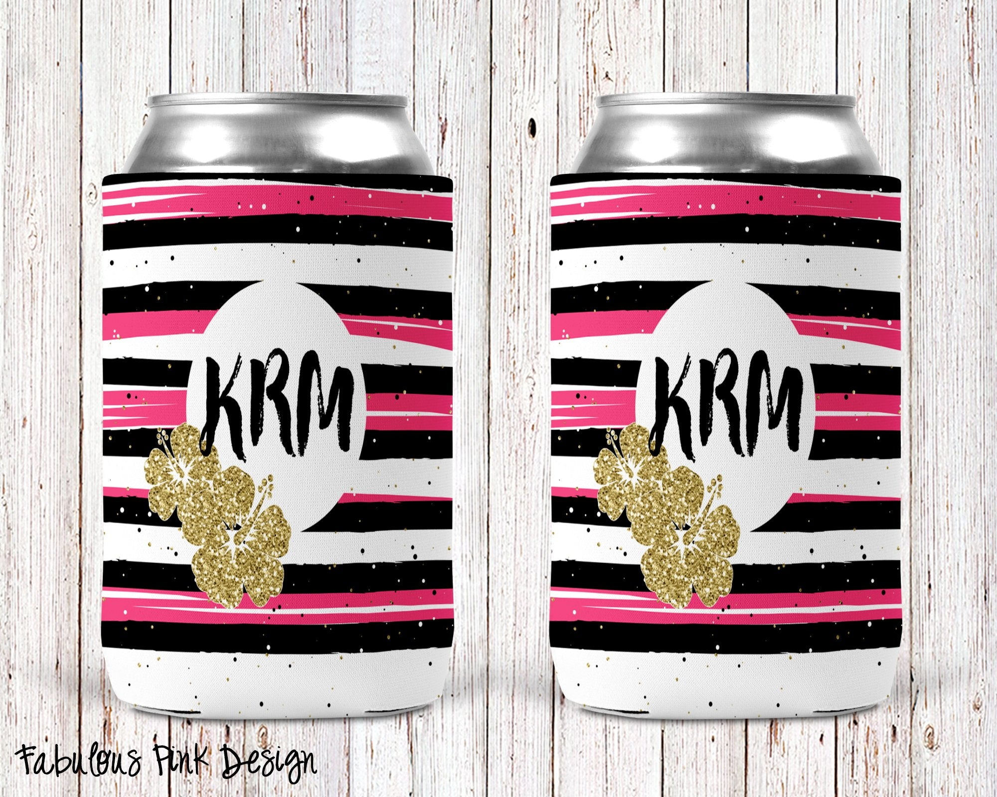 Fabulous Pink Personalized Can Cooler
