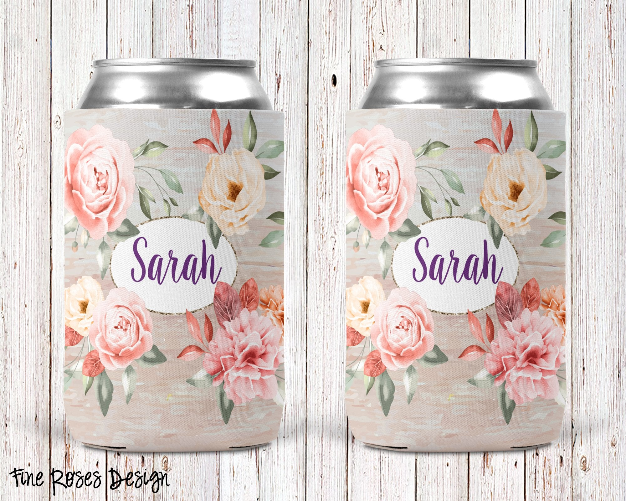 Fine Roses Personalized Can Cooler