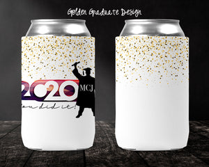 Golden Graduate Personalized Can Cooler