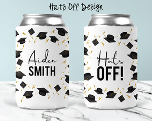 Hats Off Personalized Can Cooler