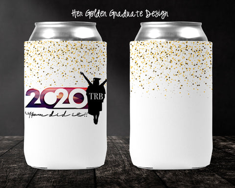 Her Golden Graduate Personalized Can Cooler
