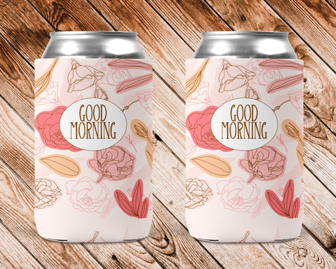 Pink Flowers Personalized Can Cooler