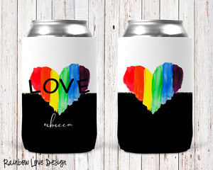Rainbow Love Personalized Can Cooler