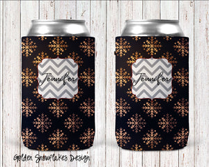 Golden Snowflakes Personalized Can Cooler