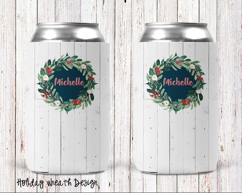 Holiday Wreath Personalized Can Cooler