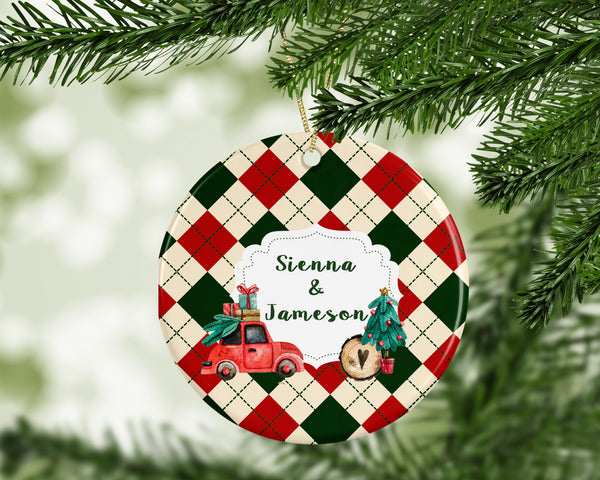Personalized Ceramic Circle Ornaments