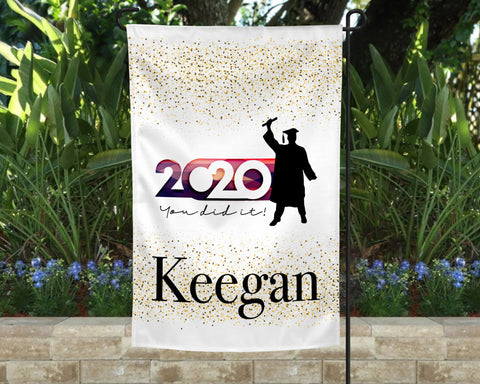Golden Graduate Personalized Garden Flag