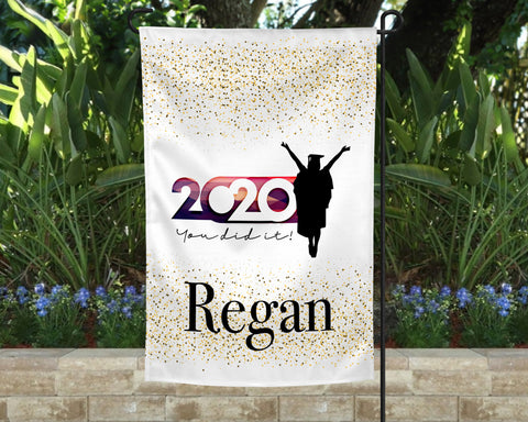 Her Golden Graduate Personalized Garden Flag