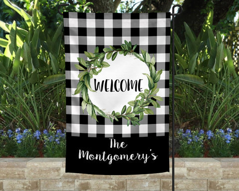 Classy Wreath Personalized Garden Flag