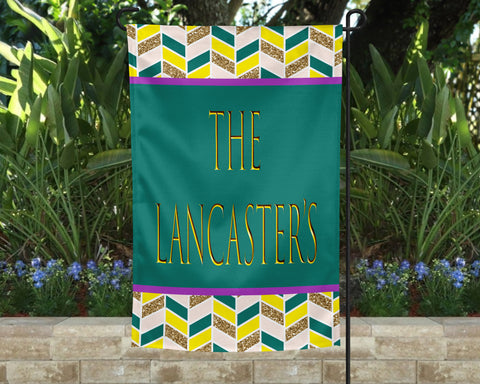Golden Lines Personalized Garden Flag