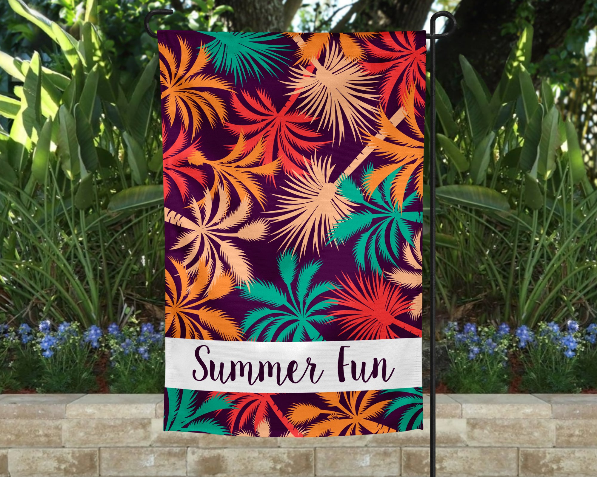Color Palms Personalized Garden Flag