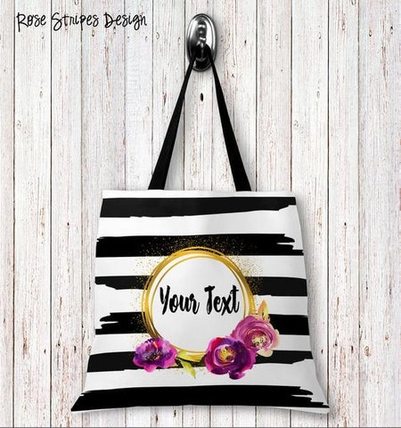 Rose Stripes Personalized Tote Bags - 3 Sizes to Choose From