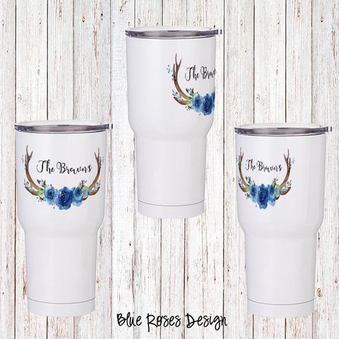 Blue Roses Personalized Insulated Tumbler