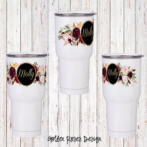 Golden Roses Personalized Insulated Tumbler