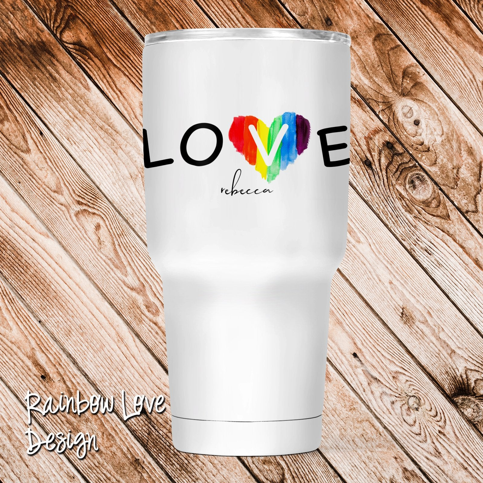 Rainbow Love Personalized Insulated Tumbler